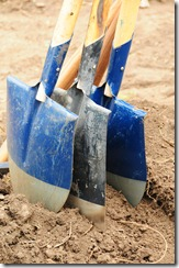 Closeup of shovels